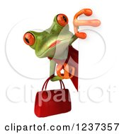 3d Female Springer Frog With A Purse Looking Around A Sign