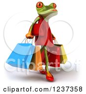 3d Female Springer Frog And Carrying Shopping Bags 2
