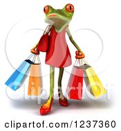 3d Female Springer Frog And Carrying Shopping Bags