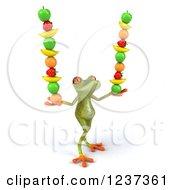 Clipart Of A 3d Springer Frog Balancing Stacked Fruit 3 Royalty Free Illustration