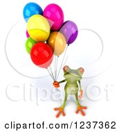 Clipart Of A 3d Springer Frog With Colorful Party Balloons Royalty Free Illustration