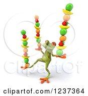 Clipart Of A 3d Springer Frog Balancing Stacked Fruit Royalty Free Illustration