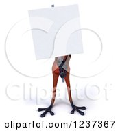 Clipart Of A 3d Red Springer Frog Holding Up A Sign Royalty Free Illustration