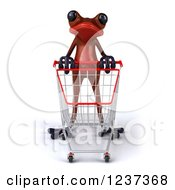 Clipart Of A 3d Red Springer Frog Pushing A Shopping Cart Royalty Free Illustration