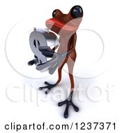 3d Red Springer Frog Holding A Dollar Symbol 2