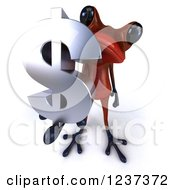 3d Red Springer Frog Holding A Dollar Symbol