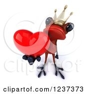 Clipart Of A 3d Red Springer Frog Prince Holding A Heart Royalty Free Illustration