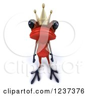 Clipart Of A 3d Red Springer Frog Prince Royalty Free Illustration