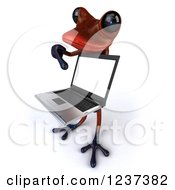 3d Red Springer Frog Pointing To And Holding A Laptop Computer 2