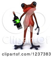 3d Red Springer Frog Holding A Wine Bottle