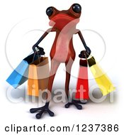 3d Red Springer Frog Carrying Shopping Bags