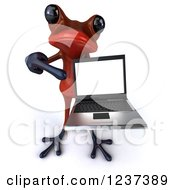 Clipart Of A 3d Red Springer Frog Pointing To And Holding A Laptop Computer Royalty Free Illustration by Julos