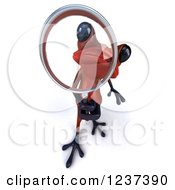 Clipart Of A 3d Red Springer Frog Using A Magnifying Glass Royalty Free Illustration