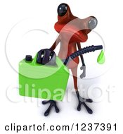 Clipart Of A 3d Red Springer Frog Carrying A Gas Can Of Biofuel 2 Royalty Free Illustration by Julos