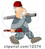 Plumber Man Carrying A Wrench And Pipe