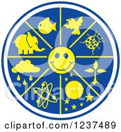 Clipart Of A Blue And Yellow Science World With A Smiley Face Royalty Free Vector Illustration by Johnny Sajem