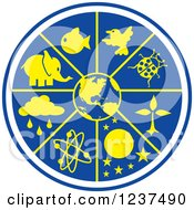 Clipart Of A Blue And Yellow Science World Royalty Free Vector Illustration by Johnny Sajem
