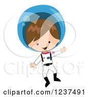 Caucasian Astronaut Boy Floating In A Space Suit