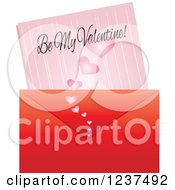 Poster, Art Print Of Valentine Envelope And Love Leatter With Be My Valentine Text