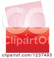 Clipart Of A Red Valentine Envelope And Love Leatter Royalty Free Vector Illustration