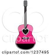 Clipart Of A Fancy Pink And Black Guitar With A Heart Royalty Free Vector Illustration