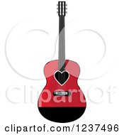 Clipart Of A Fancy Red And Black Guitar With A Heart Royalty Free Vector Illustration