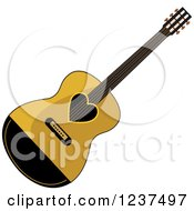 Clipart Of A Fancy Guitar With A Heart Royalty Free Vector Illustration