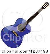 Clipart Of A Fancy Blue Guitar Royalty Free Vector Illustration