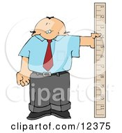 Balding Businessman Holding A Large Ruler Clipart Picture