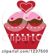 Clipart Of A Valentine Cupcake With Hearts Royalty Free Vector Illustration by Pams Clipart