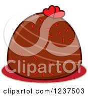 Clipart Of A Valentine Chocolate Truffle With Hearts And Sprinkles Royalty Free Vector Illustration by Pams Clipart