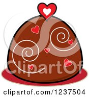 Clipart Of A Valentine Chocolate Truffle With Hearts And Swirls Royalty Free Vector Illustration