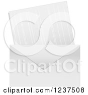 Clipart Of A White Envelope And Card Or Letter Royalty Free Vector Illustration