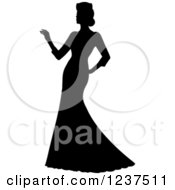 Clipart Of A Black Silhouetted Bride Reaching Royalty Free Vector Illustration