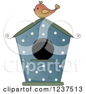 Blue Bird House With Polka Dots And Swirls