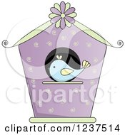 Purple Bird House With Swirls