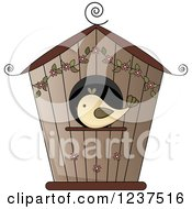 Brown Bird House With Flowers