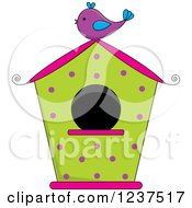 Green And Pink Bird House With Polka Dots