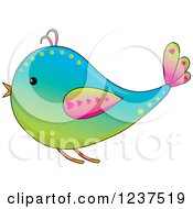Gradient Colorful Bird With Hearts