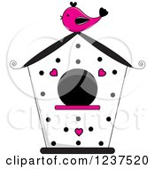 Black White And Pink Bird House With Polka Dots And Hearts