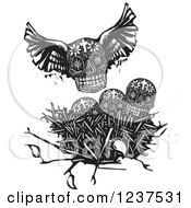 Clipart Of A Woodcut Winged Skull Over Other Skulls In A Nest Royalty Free Vector Illustration