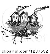 Clipart Of Woodcut Homes In A Nest Black And White Royalty Free Vector Illustration by xunantunich