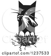 Clipart Of A Woodcut Cat With A Dead Bird Over A Nest Black And White Royalty Free Vector Illustration