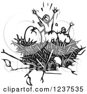 Clipart Of Woodcut People Hatching From Eggs In A Nest Royalty Free Vector Illustration