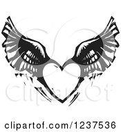 Clipart Of A Woodcut Flying Winged Heart In Black And White Royalty Free Vector Illustration