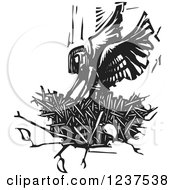 Clipart Of A Woodcut Angel In A Nest In Black And White Royalty Free Vector Illustration by xunantunich