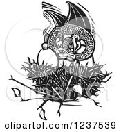 Clipart Of A Woodcut Dargon Protecting Eggs In A Nest Black And White Royalty Free Vector Illustration by xunantunich