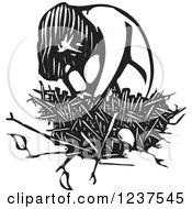 Clipart Of A Woodcut Sad Girl Hugging Her Knees In A Nest In Black And White Royalty Free Vector Illustration