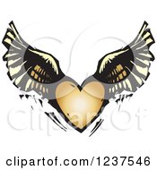 Clipart Of A Woodcut Flying Winged Heart Royalty Free Vector Illustration