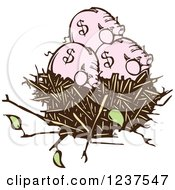 Woodcut Piggy Banks In A Nest